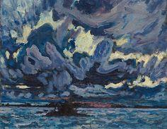 MacDonald (Canadian, Group of Seven, Wind Clouds. Wind Clouds was exhibited at the first Group of Seven exhibition in May (Sotheby's Canada) Group Of Seven Artists, Group Of Seven Paintings, Canadian Painters, Canadian Artists, Tom Thomson Paintings, Art Nouveau, National Art, Reproduction, Landscape Paintings