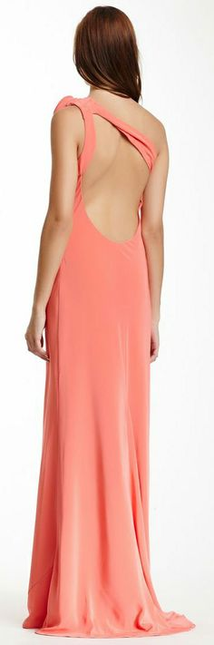 Coral One Shoulder Gown by A.B.S.