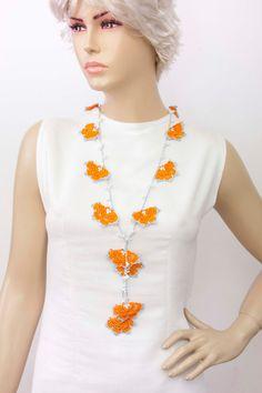 Strand necklace Crochet bead work necklace jewelrycrochet