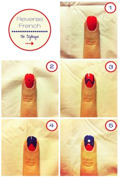 Tired of the same old white french on your nails? So let twist it up with a reverse french, based on the colours of the month: bright red and blue!  For this really simple nail art all you need is to find your skin undertone to match the correct shade of the colours and that's it! A great nail art for a night at the disco or for a particular occasion, but try to pair the colours with your outfit and it will suit the best!