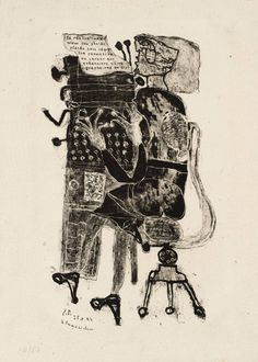 Jean Dubuffet: Typist [from 'Matter and Memory'] (1944) lithography