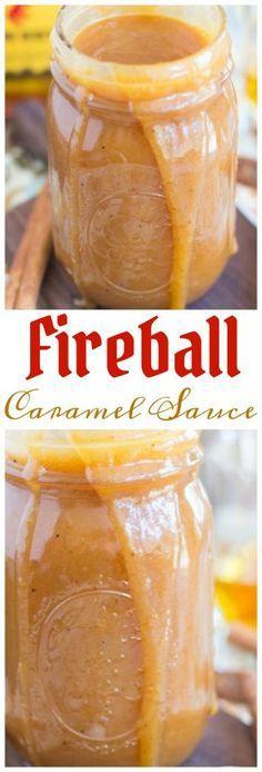 Fireball Whiskey Caramel Sauce Recipe - The Gold Lining Girl - Fireball Whiskey Caramel Sauce pin 2 - Fireball Recipes, Whiskey Recipes, Alcohol Recipes, Fireball Drinks, Drinks Alcohol, Whiskey Balls Recipe, Fireball Fudge, Dessert Sauces, Köstliche Desserts
