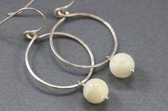Hand Formed Creamy Mother of Pearl and Argentium Sterling Silver Simple Circle Loop Earrings - Ella, by PrincessTingTing, $20.00