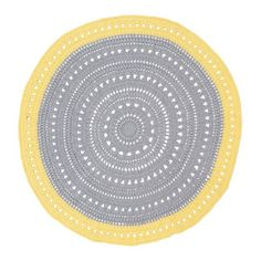 Image Of Grey And Yellow Round Floor Rug, For Sale, Though Pattern Is Good