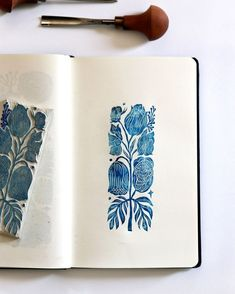 print making ideas printmaking hand carved stamp and its print blue ink on white paper sketchbook ______________________________ Stamp Printing, Screen Printing, Blue Drawings, Linoleum Block Printing, Stamp Carving, Linoprint, Art Graphique, Tampons, Pattern Illustration