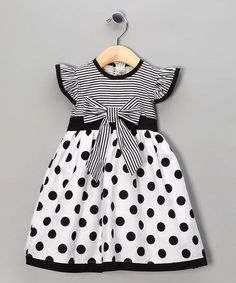 Take a look at this Black Polka Dot Stripe Dress - Toddler & Girls by Maggie Peggy on #zulily today!