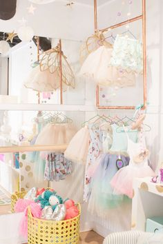 mirrors and ballet bar and dress up rack!