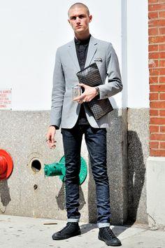 NYFW SEPTEMBER 11TH 2012 – PERRY ELLIS  MONSIEUR JEROME September 11 2012, Perry Ellis, Street Style, Blazer, Casual, Jackets, Men, Fashion, Down Jackets