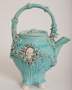 Skull Mermaid Turquoise Teapot by ClayChimera on Etsy, $140.00