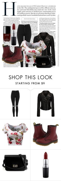 """""""Idk but I ❤️ this outfit!"""" by demigod-pjo ❤ liked on Polyvore featuring Topshop, Dr. Martens, MAC Cosmetics and Chanel"""