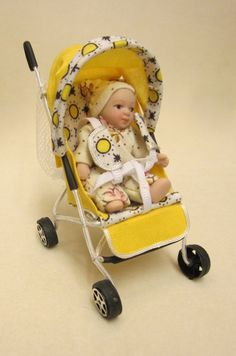 dolls house ooak sculpt baby girl car seatbaby carrier
