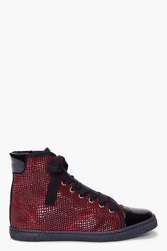 I occasionally ball in ..LANVIN Red Scaled Basketball Sneakers