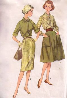 1960s SIMPLICITY 3677 Blouse shirt wiggle by laughingduckvintage