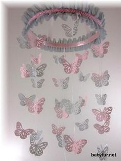 Price: $48 Description: Pink and Grey Butterfly Mobile – Nursery Mobile, Pink and Grey Butterfly Mobile- Girls Room Décor – Hand Crafted Baby Shower Gift – Baby Girl – Nursery Décor – Wedding Mobile – White Mobile This elegant butterfly mobile adds a special touch to any baby's nursery, child's room, or given as a …