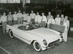 First Chevrolet Corvette June 30,1953 - Looks white, but can't tell - wonder what color it was....