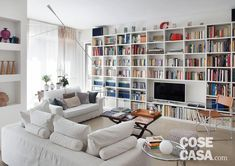 Columns of bookshelves make interesting decor Living Room Wall Units, Bookshelves In Living Room, Ikea Living Room, Interior Design Living Room, Living Room Designs, Home Library Design, Home Room Design, House Design, Muebles Living