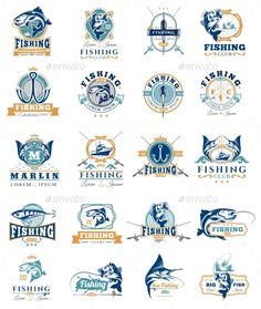 Set of Vector Fish Badges Template Vector EPS