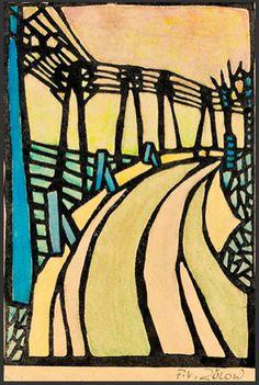 ein-bleistift-und-radiergummi:  Franz Von Zülow 'Die Brücke' - Colour Woodcut