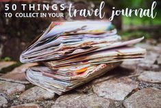 50 things to add in a travel journal 50 Dinge, die man in ein Reisetagebuch schreiben sollte Travel Album, Travel Planner, Travel Smash Book, Travel Journal Scrapbook, Travel Journals, Midori, Memory Journal, Junk Journal, Travel Crafts