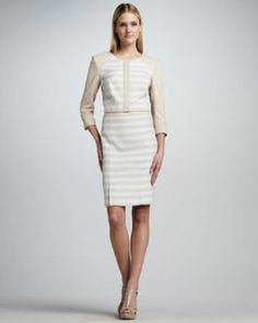 Two Tone Striped Skirt Suit by Kay Unger New York at Neiman Marcus. Neutral Skirts, Kay Unger, Three Piece Suit, Straight Skirt, Stripe Skirt, Skirt Suit, Ladies Day, Dresses For Work, Style Inspiration