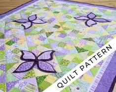 Easter Parade PDF Quilt Pattern in two sizes: Mini Quilt and Throw Quilt Butterfly Quilt Pattern, Applique Quilt Patterns, Modern Quilt Patterns, Baby Girl Quilts, Girls Quilts, Throw Quilt Size, Foundation Paper Piecing, Quilt Sizes, Custom Quilts