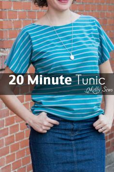 20 Minute Tunic - Sew this top from any kind of knit fabric in about 20 minutes with this EASY how to sew a shirt tutorial from Melly Sews