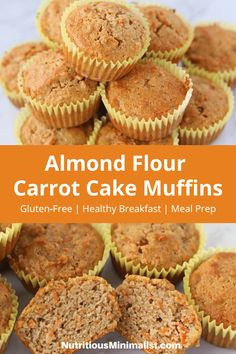 Almond flour carrot cake muffins make a tasty gluten-free breakfast or snack are quick and easy to make. Made with grated carrots, almond flour, coconut oil, maple syrup and spices, make a batch during your weekend meal prep to enjoy all week. Almond Flour Muffins, Baking With Almond Flour, Almond Flour Recipes, Almond Flour Desserts, Almond Flour Cakes, Coconut Cakes, Lemon Cakes, Healthy Muffins, Healthy Baking