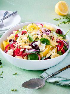 Griechischer Nudelsalat mit Fetadressing