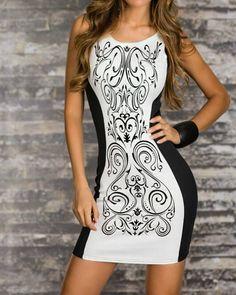 59443bb5641 S-XXL Fashion 2015 Bodycon Party Dresses Women Retro Printed Black White  Patchwork Casual Sexy Sheath Summer Dress Slim Style(China (Mainland))