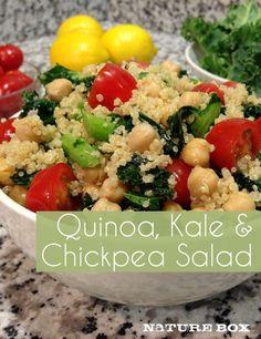 Quinoa, kale, and chickpea salad w/ lemon dressing. I roasted the tomatoes and added feta. Fantastic!