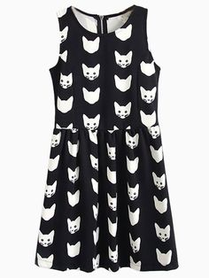 Black Cat Print Skater Dress | Choies