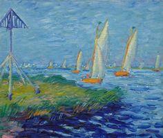 Johannes 'Johan' Dijkstra (Groningen 1896-1978) Zeilboten op het meer - Kunsthandel Simonis en Buunk, Ede (Nederland).