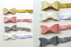 Great stocking stuffer idea for little girls! These headbands are the perfect accessory for any occasion. Use them for family pictures, holidays or everyday use. The colors are vibrant and fun and go with everything! This 4 pack includes one of each color (pink, grey, gold and white).