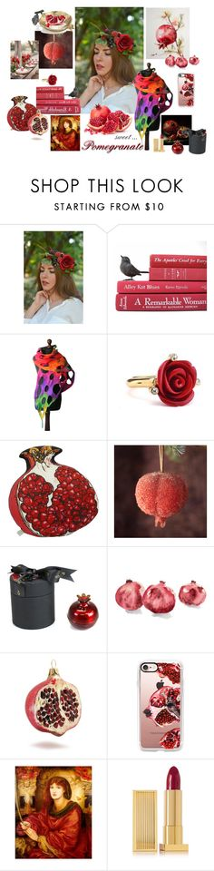 """Pomegranate"" by vualia ❤ liked on Polyvore featuring Oscar de la Renta, Silken Favours, D.L. & Co., Sur La Table, Casetify, Lipstick Queen, red, redaccessories, pomegranate and FashionRed"