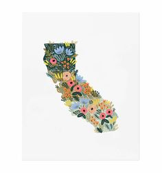 California Wildflowers Illustrated Art Print