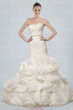 Sensational Strapless Mermaid Wedding Gown Holding Lace Overlay and Tiered Ruffles