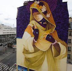 RT GoogleStreetArt: New Street Art by Inti in Paris    #art #mural #graffiti…