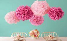 pompoms selber basteln diy tischdeko geburtstag rosa pink