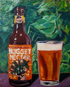 """Beer Painting of Nugget Nectar by Tröegs Brewing Co. Year of Beer 03.24. Oil on panel, 8""""x10""""."""