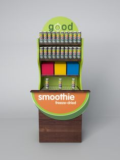 Smoothie display Good Smoothies, Freeze Drying, Frozen, Display, Floor Space, Billboard