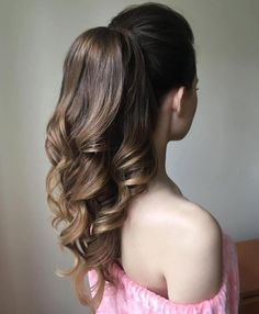40 High Ponytail Ideas for Every Woman Formal Curly Ponytail For Long Hair Prom Ponytail Hairstyles, Formal Hairstyles For Long Hair, Curls For Long Hair, Curled Hairstyles, Cool Hairstyles, Loose Curls, Curly Hair, Wavy Curls, Woman Hairstyles