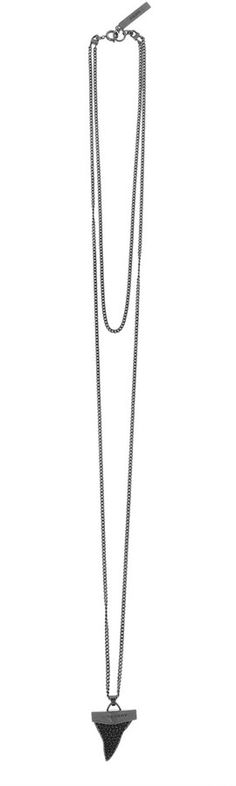Givenchy Shark Tooth Necklace in Ruthenium-Tone Brass and Crystal