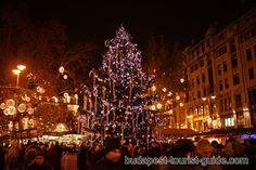 Christmas Tree with lights on, Vörösmarty Square, Budapest