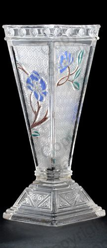 ANTIQUE GLASS: CRYSTAL SILVER & GILT. c.1910 BACCARAT RELIEF MOULDED VASE WITH POLYCHROME DECORATION. To visit my website click here: http://www.richardhoppe.co.uk or for help or information email us here: info@richardhoppe.co.uk