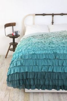Waterfall Cascade Ruffled Comforter ...wonder if I could figure out how to add these to my black queen size comforter I have now?  to convert it to a king?