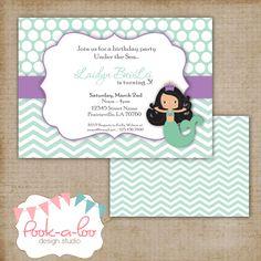 Mermaid Party Invitation by PookalooDesignStudio on Etsy, $10.00