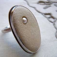 Pearl and stone pebble ring by hybrid handmade Cari-Jane Hakes from 'Les Petites Cailloux' series