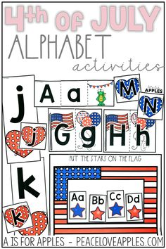 Alphabet practice with a patriotic, 4th of July theme! Great for toddlers and preschoolers to practice uppercase and lowercase letters, letter recognition, letter sounds, and more.