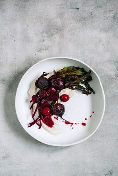 Young beetroot meets sweet-sour cherries and a savory celeriac puree.