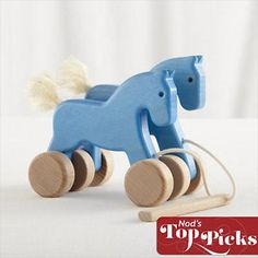 Baby Toys: Wooden Pony Pull Toy in Baby Toys